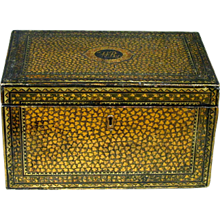 An Exceptional and Rare 19th Century Chinese Export Black Lacquer Tea Caddy, Guangzhou (Canton) Circa 1800
