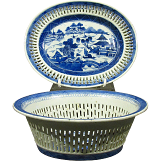 A 19th Century Chinese Export Porcelain Chestnut Basket & Flat, Canton Circa 1840