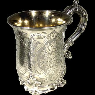 A Very Fine & Heavy 19th Century British Sterling Silver Mug / Tankard, Hallmarked London 1854