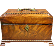 A Superior 18th Century Chippendale Period Inlaid Mahogany Tea Caddy, English Circa 1760