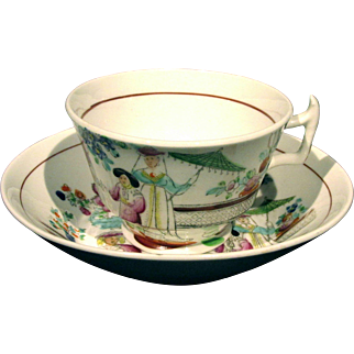 An Early 19th Century Staffordshire Porcelain Cup & Saucer, England Circa 1835