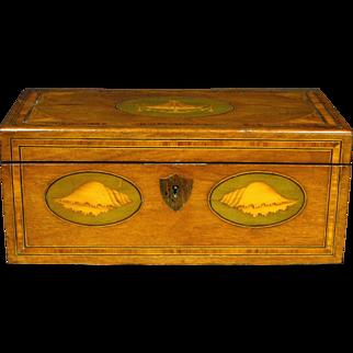 A Fine George III Inlaid Mahogany Tea Caddy Converted to a Letter Box, English Circa 1810