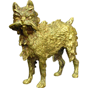 A Charming 20th Century Signed Vienna Gilt-Bronze Model of a Brussels Griffon, Circa 1900