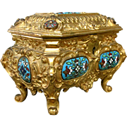 An Early 20th Century Rococo Inspired Gilt Bronze & Enamel Jewellery Casket, Italy Circa 1900