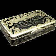 A Fine and Heavy 19th Century Russian Silver (.875 fine) & Niello Snuff Box, Moscow 1859