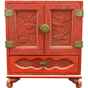 A Fine Oriental Red Cinnabar Lacquer Table Cabinet, Circa 1910