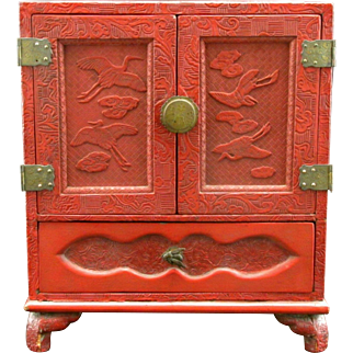A Fine Oriental Red Cinnabar Lacquer Table Cabinet, Circa 1910