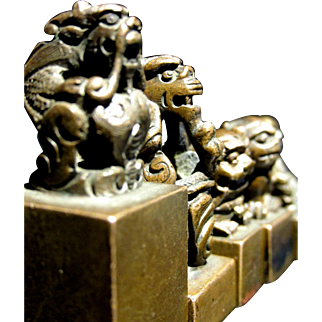 A Group of Five Miniature Chinese Bronze Seals / Chops, Late Qing Period (circa 1910)