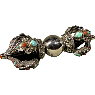 A Late 19th / Early 20th Century Five-Pronged Silver, Turquoise & Coral Vajra, Tibetan Circa 1900