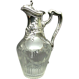 A Very Fine 19th Century French Silver (.950 fine) and Etched Glass Claret Jug, France Circa 1880