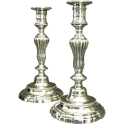 A Very Fine Pair of Louis XV Period Silvered Bronze Candlesticks, France Circa 1760