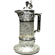 An Exceptional Etched Glass & Silver Plated Claret Jug / Decanter by Elkington & Co., London 1884