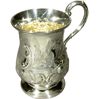 A Very Good & Heavy 19th Century British Sterling Silver Christening Mug, London 1866