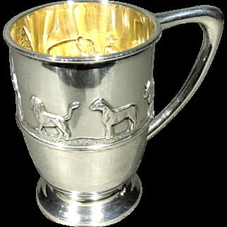 A Very Good 19th Century Arts & Crafts Period Sterling Silver Novelty 'Noah's Ark' Christening Mug, Sheffield 1896