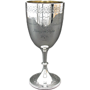 A Most Interesting 19th Century Sterling Silver Agricultural Trophy Goblet, London 1876