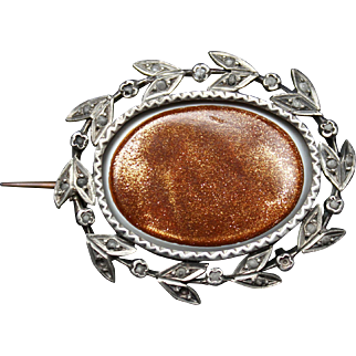 19th Century Antique Victorian sterling brooch pin with a central oval glass sunstone goldstone and frenshwater seed pearls