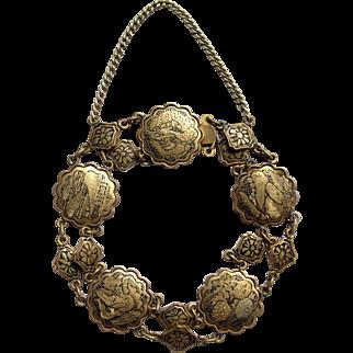 1930s Japanese  Komai Damascene bracelet Oriental Asian landscape scene