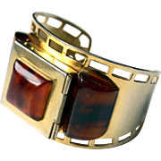 1930s Bakelite cuff bracelet with powder compact gold tone metal brass made in France