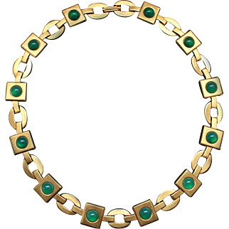 1980s MMA necklace goldtone matte green chrysoprase glass cab Metropolitain Museum of Arts Etruscan style replica