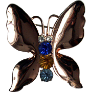 1940s Coro Sterling Butterfly Brooch Pin Gold washed Rhinestone