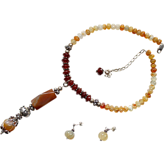 1990s Bali sterling silver carnelian agate necklace pendant and earrings set demi parure