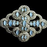 1930s Art deco large brooch blue moonglow glass cab clear rhinestones diamante pot metal