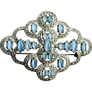1930s Art deco large brooch blue moonglow glass cab clear rhinestones diamante pot metal