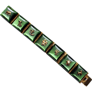 1940s French green galalith lucite panels bracelet with figural animals moonglow