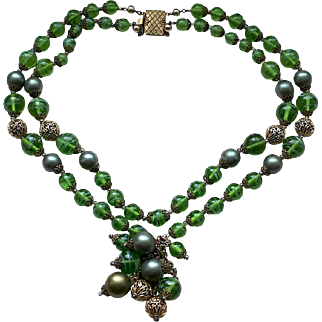1940s European double strand green art glass beads necklace  with a tassel fringe