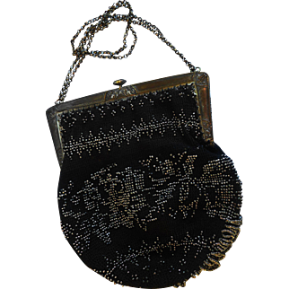 Art Deco Style Push Button Clasp Metal Framed Black & Silver Glass Beaded Purse Made in France