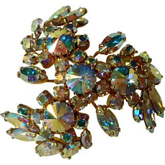 Vintage Aurora Borealis Pinwheel Styled Brooch