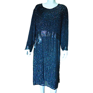 1970's Heavily Beaded Multi-Colored Sequined on Silk Ladies Evening Dress