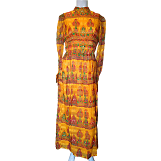 1970's Yellow and Multi Colored Lively Printed Long Dress