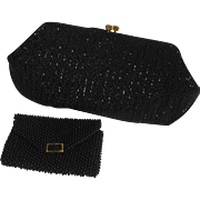 Josef Black Hand Beaded Evening Bag with Beaded Change Purse