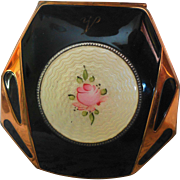 Elgin American Black Enameled Guilloche Rose Art Deco Ladies Compact