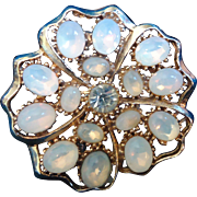 Multi Moonstone Vintage Brooch with Centered Rhinestone