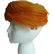 Ladies Orange Feathered 1950's Pillbox Hat