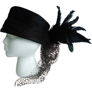 Helen Joyce Original New York Helios Black Fur Felt and Feathered Hat
