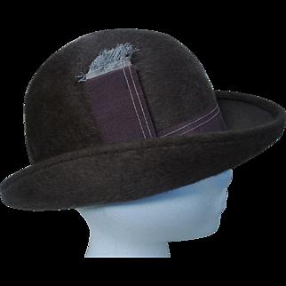 Lilly Daché DEBS New York, Paris Brown Furfelt Bowler Derby Ladies Hat