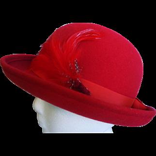Geo. W. Bollman & Co Inc Red Doeskin Felt 100% Wool with Feathers Derby Bowler Ladies Hat