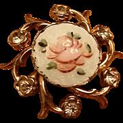 Vintage Coro Floral Rhinestone Brooch