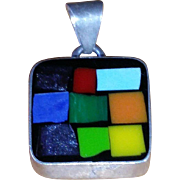 Stunning. 925 sterling rainbow inlay square pendant - Old Mexico.