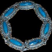 Vintage sterling 925 Turquoise link bracelet