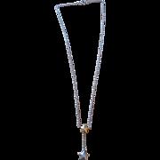 Vintage estate sterling silver & gold overlay topaz star lariat Y necklace