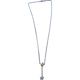 Vintage estate sterling silver & gold overlay topaz star lariat Y necklace