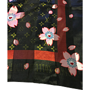 "Louis Vuitton Cherry Blossom Scarf Wrap 39"" Square"