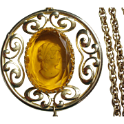 Whiting and Davis 1970's Cameo Necklace