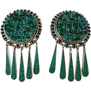 Classy Vintage Mexican Inlaid Turquoise Lapis Silver Clip-on Earrings