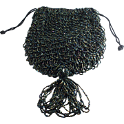 1920's Carnival Iridescent Glass Beaded Purse