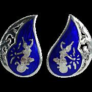 Siam Sterling Blue Enamel Clip-on Earrings